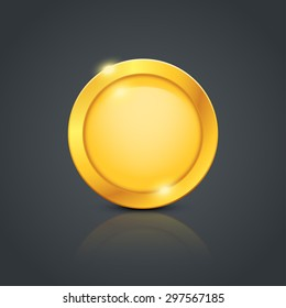 illustration of gold coin with reflection on dark background