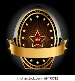 Illustration gold insignia on a black background. Vector.
