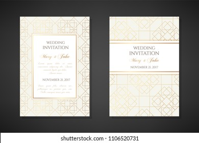Illustration with gold lin art texture. Wedding invitation templates. Cover design with ornaments. Vector decorative backgrounds with copy space.