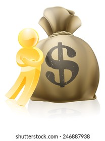 Illustration of a gold mascot man leaning on money sack