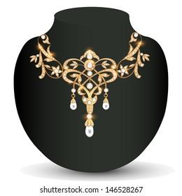 Illustration gold necklace wedding women with gems