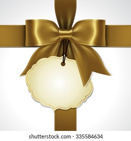 Illustration of gold ribbon bow vector with tag card