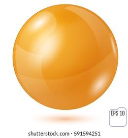 Illustration of gold sphere isolated on white background. Vector illustration