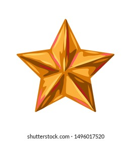 Illustration of gold star. Stylized hand drawn image in retro style.