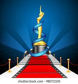 illustration of golden cinema award with film reel on red carpet