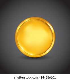 Illustration golden coin, money isolated on black background - vector