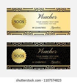 Illustration with golden colored geometric texture. Gift vouchers template collection. Vector decorative horizontal  flayers