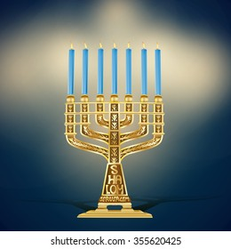 illustration of golden menorah with seven gold with blue candles lighting on dark background