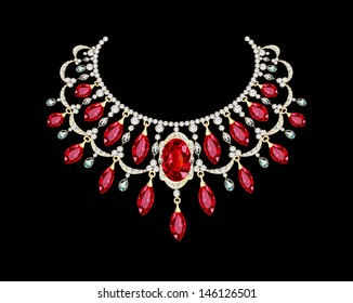 illustration of a Golden necklace  female with red precious stones
