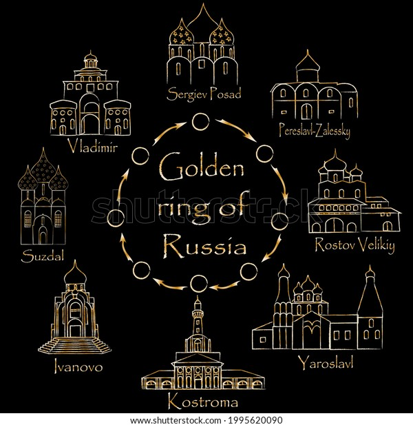 Illustration of the golden ring of Russia, the city of Russia in the form of a circle on a black background