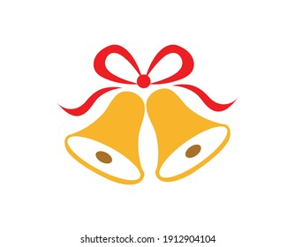 Illustration of golden wedding, christmas bells with red ribbons isolated on white background