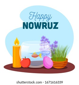 Illustration of Goldfish Bowl with Semeni (Grass), Apple, Eggs, Illuminated Candle and Hyacinth on Abstract Background for Happy Nowruz Celebration.