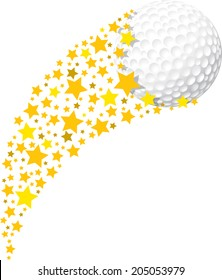 illustration of a golf ball being propelled by a field of stars.