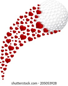 illustration of a golf ball swooshing through the air with a trail of hearts.