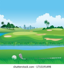 Illustration of a golf course with the city as a background.