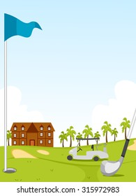Illustration of a Golf Course with a Clubhouse and a Buggy in the Background