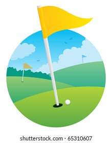 Illustration of golf course, focusing on a flag.