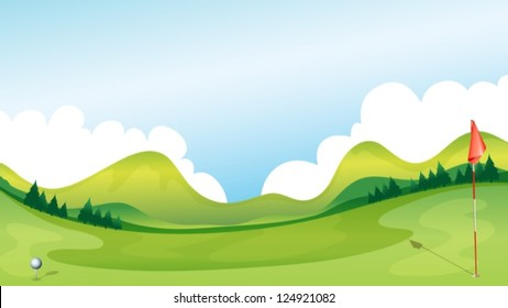 Illustration of a golf course with the mountains as a background.
