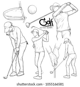 illustration of golf. drawing vector style