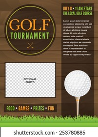 An illustration for a golf tournament. Vector EPS 10. EPS file is layered for separation of text from design elements. Text has been converted to outlines in EPS. Space provided for your photo.