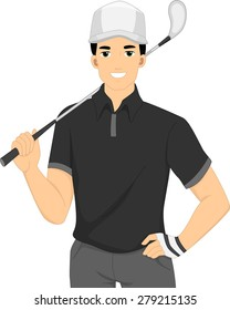 Illustration of a Golfer with a Golf Club Resting on His Shoulder