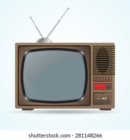 Illustration of the good old retro TV without remote control on blue background. Old TV with antenna