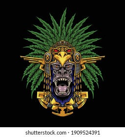 Illustration of gorilla with aztec  helmet available for your custom project