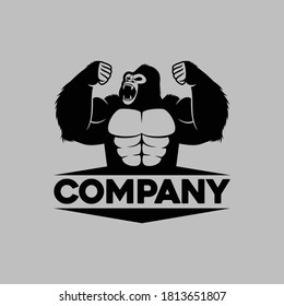 illustration of gorilla silhouette, can be use for logo, design element, etc