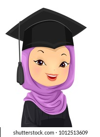 Illustration of a Graduating Muslim Girl Wearing a Hijab and a Graduation Cap