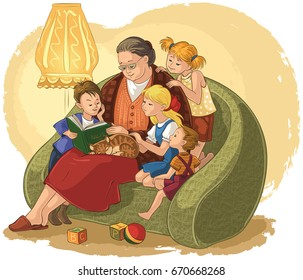 Illustration of grandchildren listening their grandmother reading a book fairy tales. Also available coloring book version