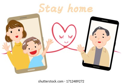 Illustration of grandfather and grandson making video call on smartphone