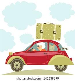 "Illustration ""Grandma drives the car"""