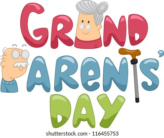 Illustration of a Grandmother and a Grandfather Beside a Text That Says Grandparents' Day