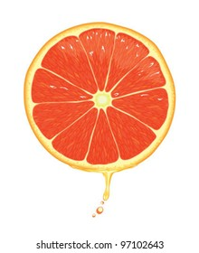Illustration of a grapefruit slice with juice dripping