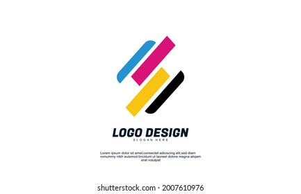 Illustration of graphic abstract creative rectangle logo icon design modern digital style illustration motion flow vector