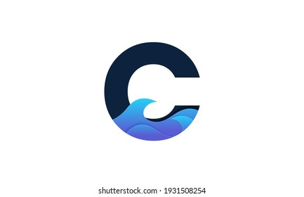 Illustration of graphic abstract initial c blue color illustration vector design template suitable for creative industry multimedia