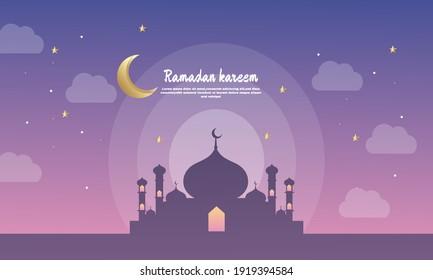 Illustration of graphic Flat Ramadan Kareem Holiday Background Design
