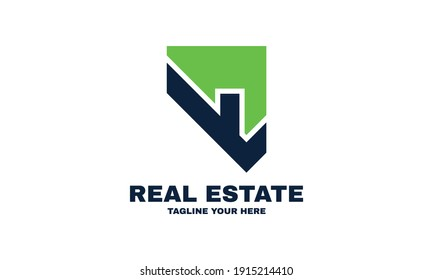 Illustration of graphic real estate simple and modern logo for the company relating to home business design vector