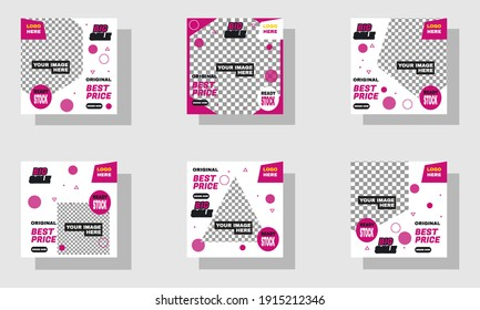 Illustration of graphic Set of Editable minimal square banner template. Suitable for social media post and web internet ads.