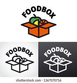 illustration of graphic sign and logo for food and snack box
