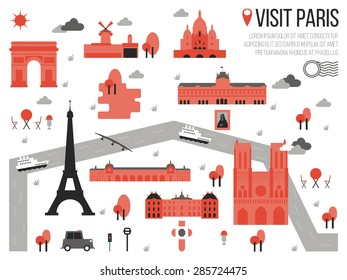 illustration of graphic travel map of paris france