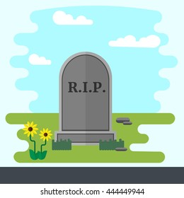 Illustration of gravestone on green grass with flowers. Flat design vector tombstone.