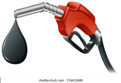Illustration of a gray and red colored fuel pump on a white background