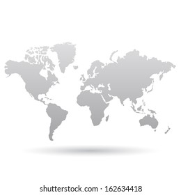 Illustration of Gray World Map isolated on a white background