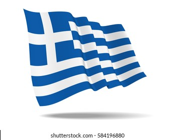 illustration Greece flag waving Isolated on White Background,vector
