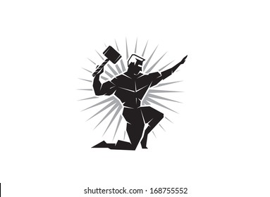 Illustration of the Greek God Thor throwing hammer from the front