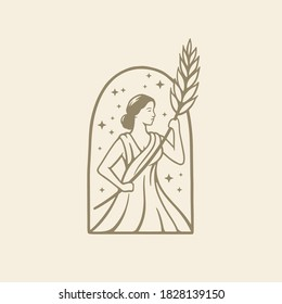 Illustration greek goddess in ancient Roman religion and myth hold wheat. Beer ,bakery or beauty logo design template