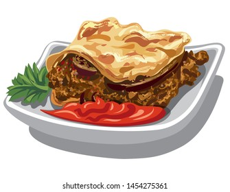 illustration of greek moussaka with tomato sauce on plate