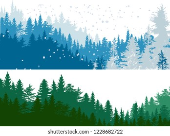 illustration with green and blue forest isolated on white background
