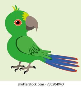 An Illustration of a green cartoon parrot